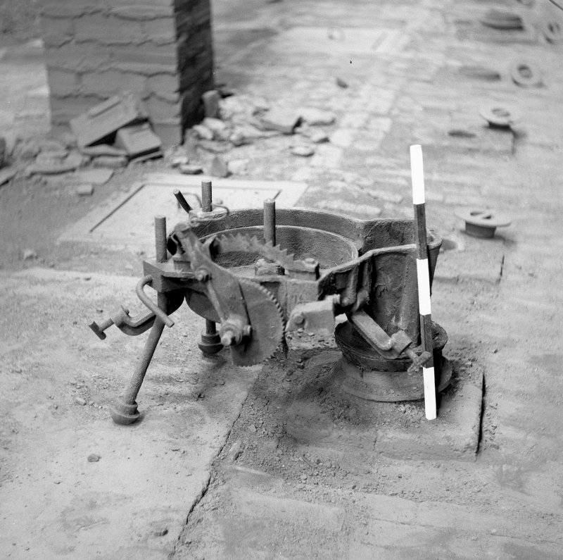 Interior View of base of stoker placed on fuel hole (scale 50cm) Digital image of B/9379