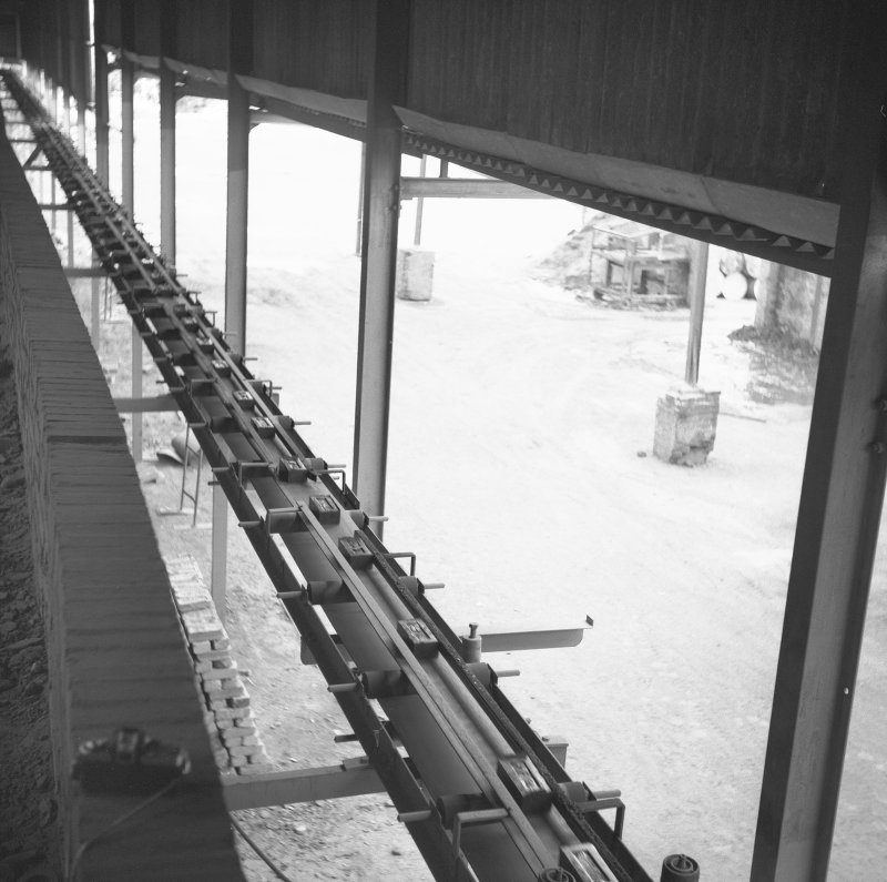 Interior View of conveyor from press to kiln (view from top of kiln) Digital image of B/9373