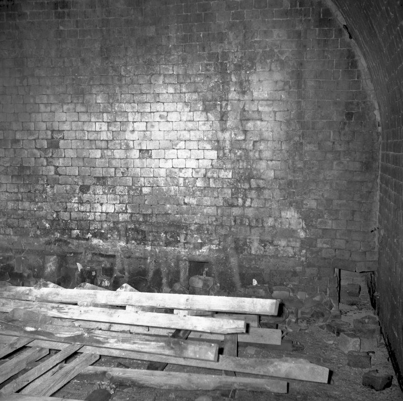 View showing dividing wall in 2 chamber Newcastle kiln with flues at ground level Digital image of B/9493/1