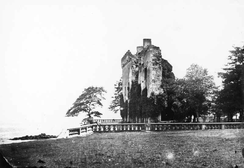 Edinburgh, Barnbougle Castle. View from North East prior to restoration in 1880.