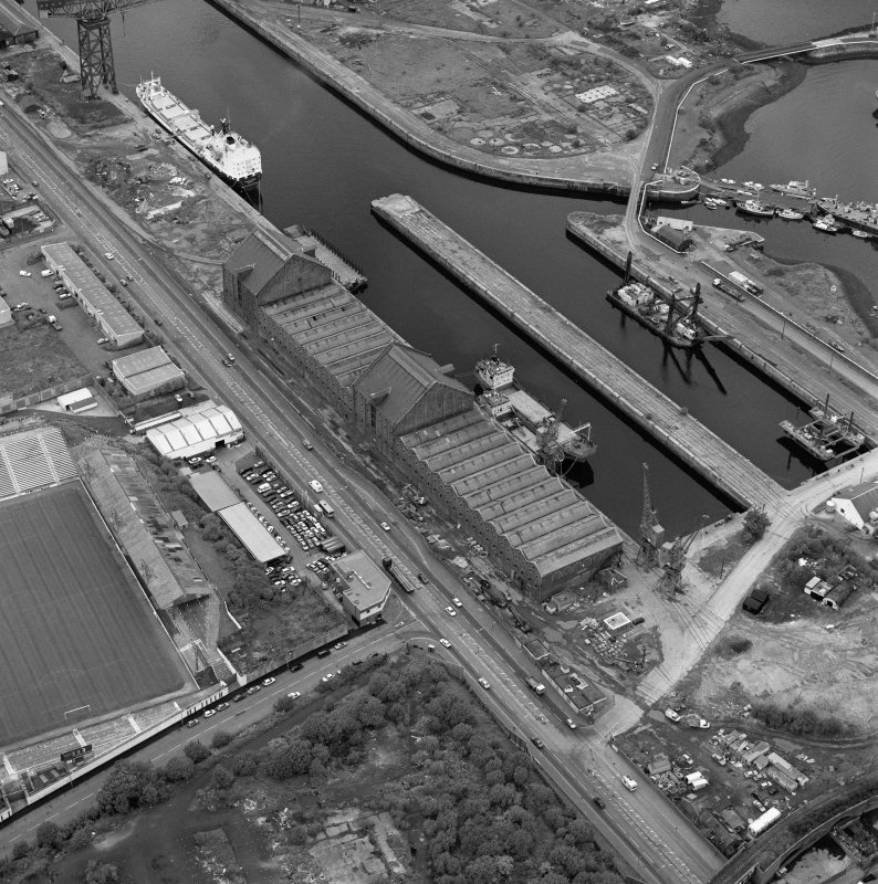 Greenock, James Watt Dock, oblique aerial view, taken from the SSE.