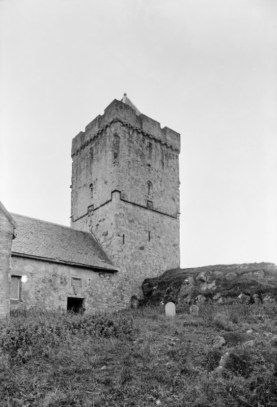 Harris, Rodel, St Clement's Church. View from NE showing NNE and ESE fronts of tower.