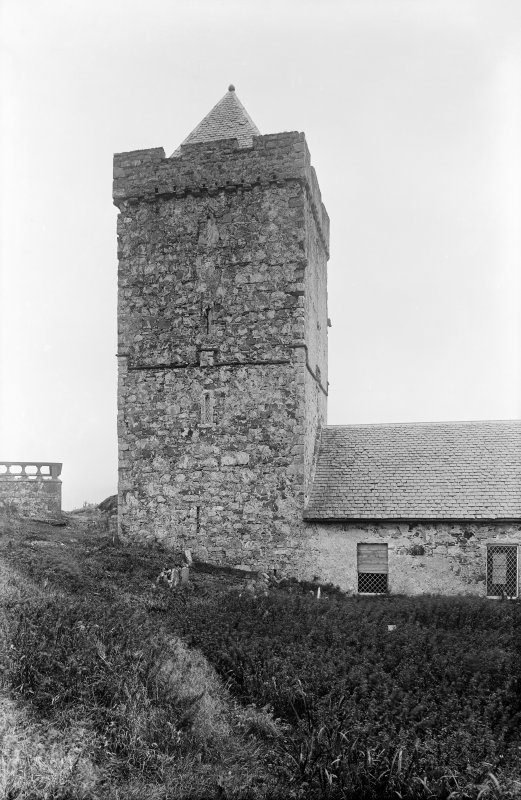 Harris, Rodel, St Clement's Church. View from S showing SSW front of tower.