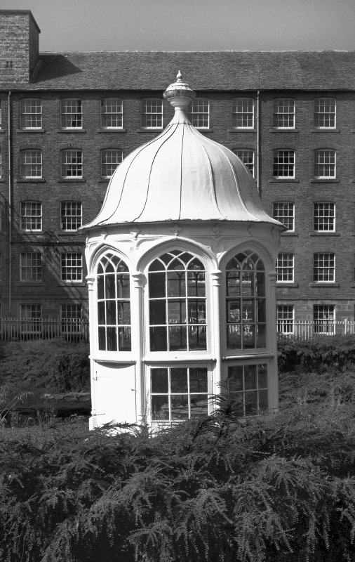 View of gazebo at centre of courtyard, Stanley Mills.