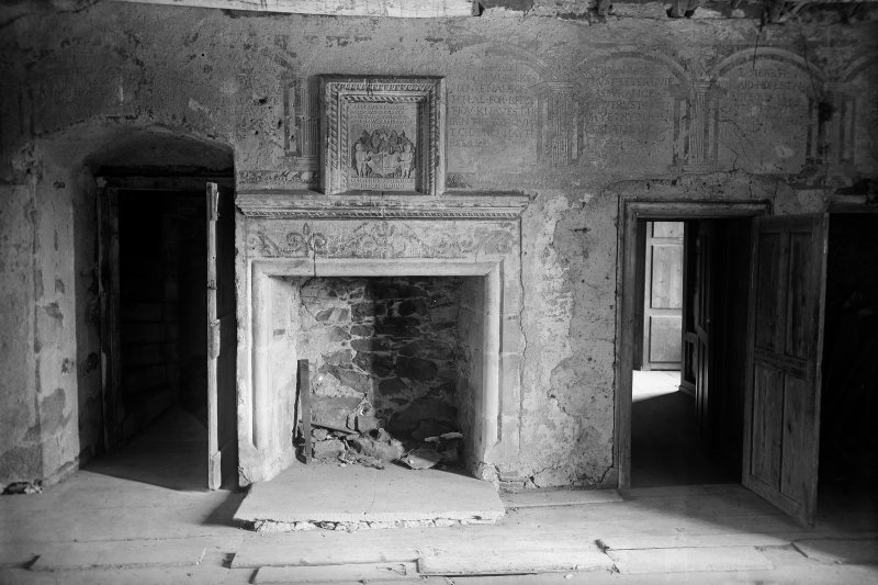 View of gallery showing fireplace and remains of painted decoration
