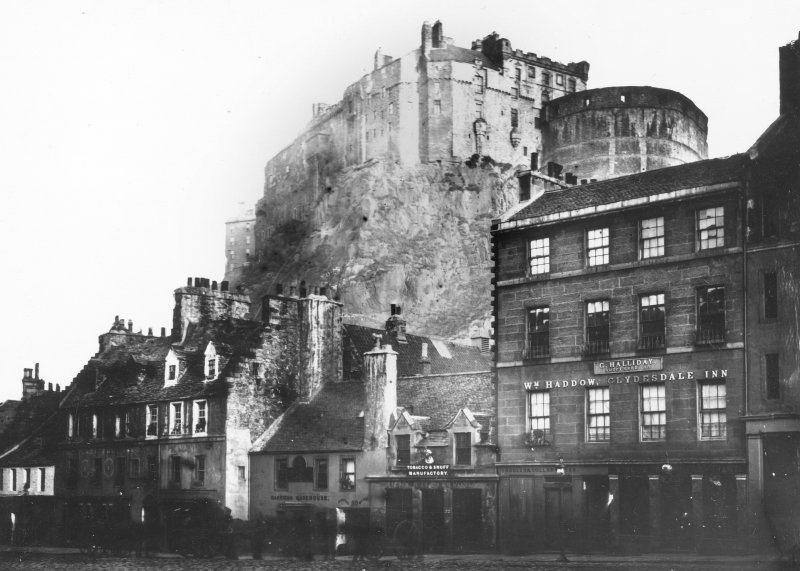 Edinburgh Castle. General view from Grassmarket.