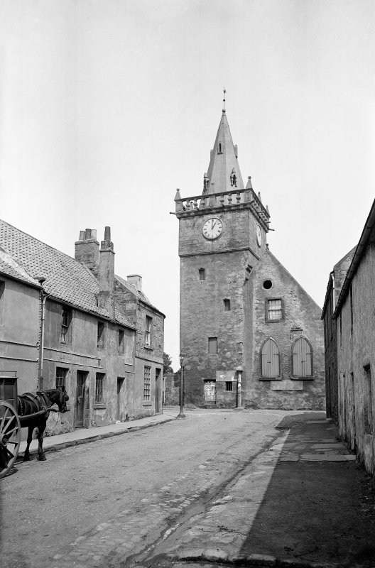 Pittenweem, High Street. General view from south west showing church before Rose Window was installed