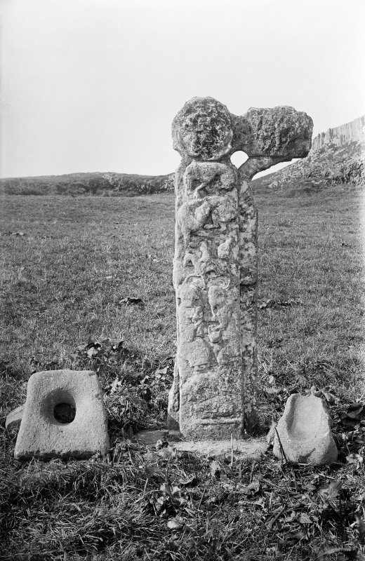 Canna, St Columba's Graveyard. East face of carved stone.