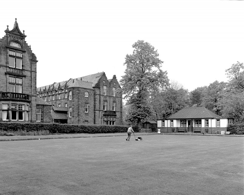 Glasgow, Gartloch Road, Gartloch Hospital. View of bowling green and pavilion from North-West. Digital image of B/4636
