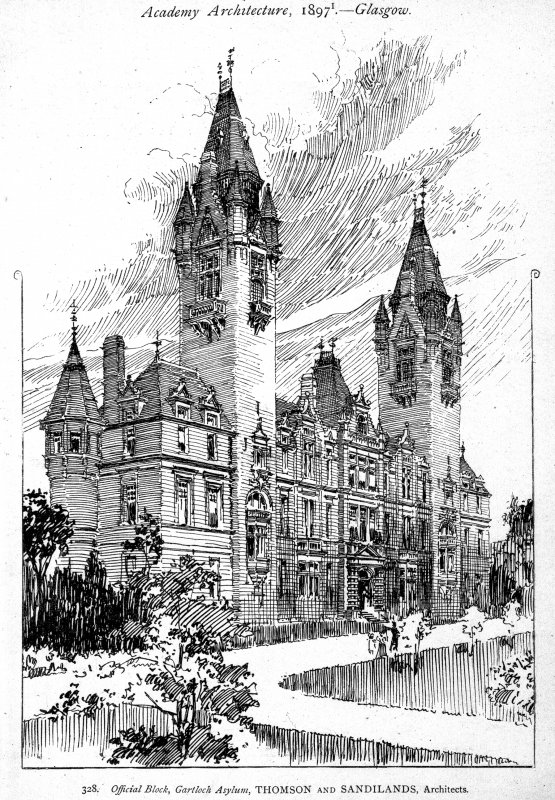 Glasgow, Gartloch Road, Gartloch Asylum Photographic copy of drawing of official block copied from 'Academy Architecture', 1897. Digital image of B/41922