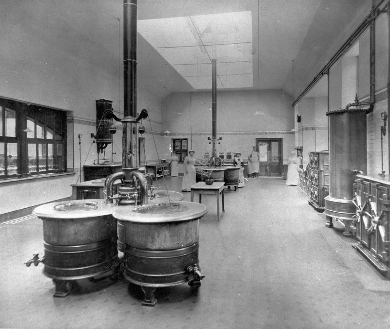 Interior view of Kitchen in main building, Northern Counties District Lunatic Asylum, Inverness