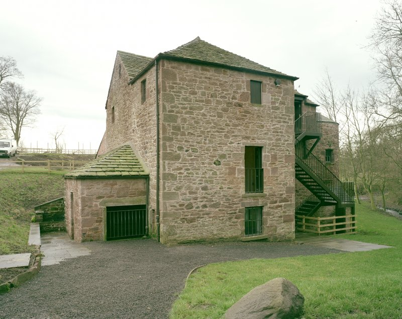 View from SW with water wheel under extension on left side. Digital image of C 3909 CN.