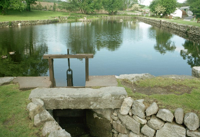View of pond and sluice. Digital image of B 15243 CN.