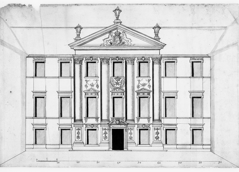 Elevation to court drawing.