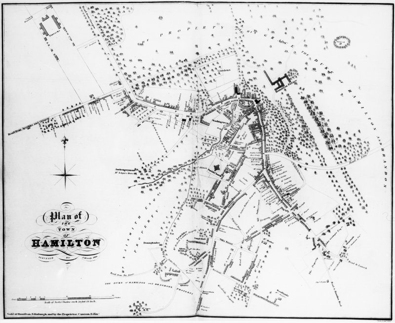 Photographic copy of Hamilton Town Plan. Copied from edition in the National Library of Scotland. Digital image of LAD 59/1 PO.
