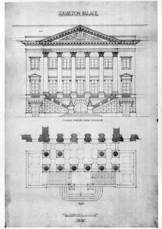 Photographic copy of front elevation and plan. Digital image of LAD/18/220 P.