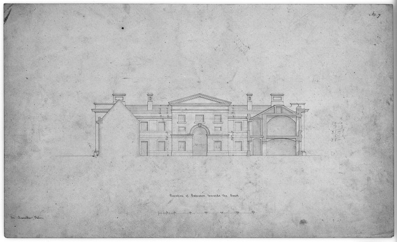 Photographic copy of stable court elevation. Digital image of LAD 18/94 P