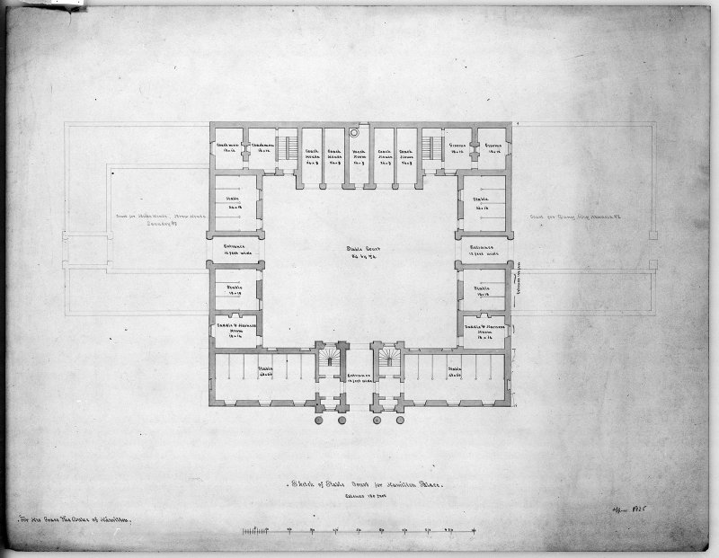 Photographic copy of plan of stable court. Digital image of LAD 18/92 P.