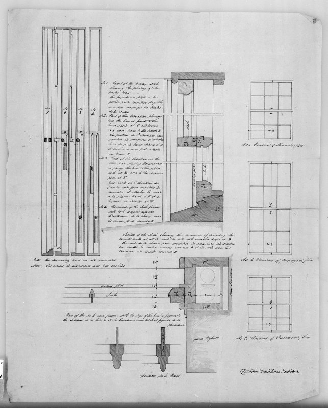 Photographic copy of designs for windows and pulleys. Digital image of LAD 18/91 P.