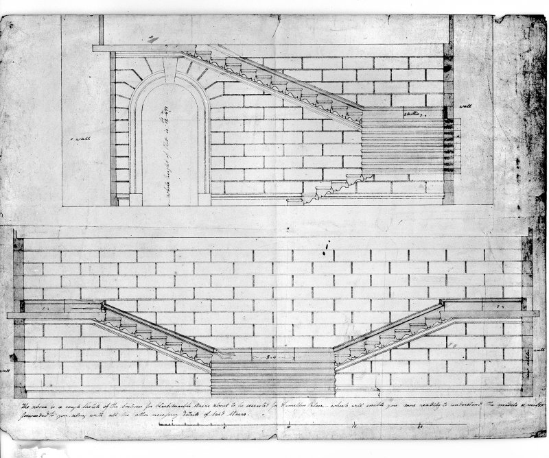 Photographic copy of sections of marble staircase. Digital image of LAD 18/77 P.