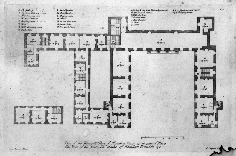 Photographic copy of plan of principal floor (as existing in 1730). Digital image of LAD 18/9 P.