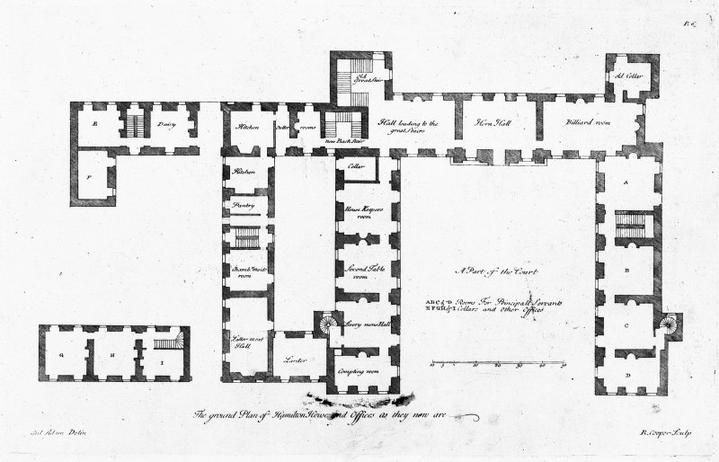 Photographic copy of plan of ground floor and offices (as existing in 1730). Digital image of LAD 18/8 P.