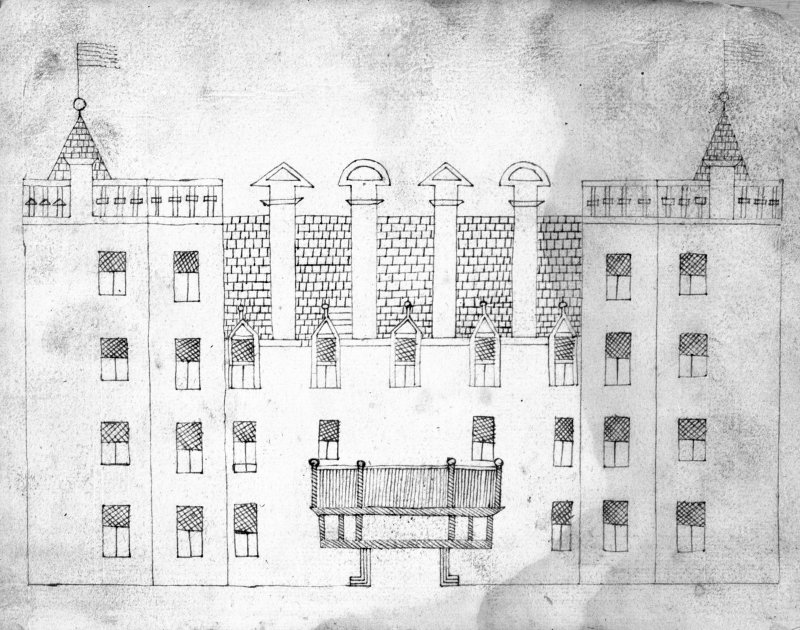Photographic copy of drawing of the main facade. Digital image of LA 412/p