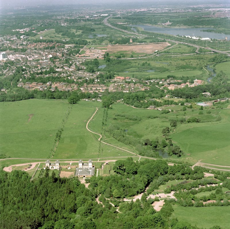 General aerial view of Chatelherault and Hamilton Mausoleum, taken from the SSE. Digital image of C 76872/CN.