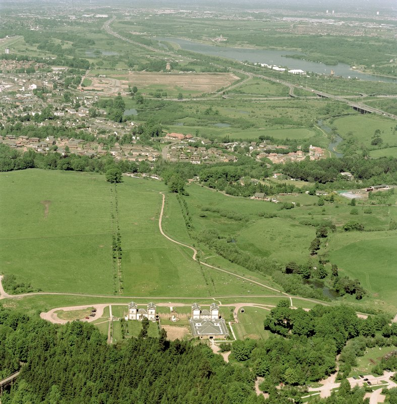 General aerial view of Chatelherault and Hamilton Mausoleum, taken from the SSE. Digital image of C 76871 CN.