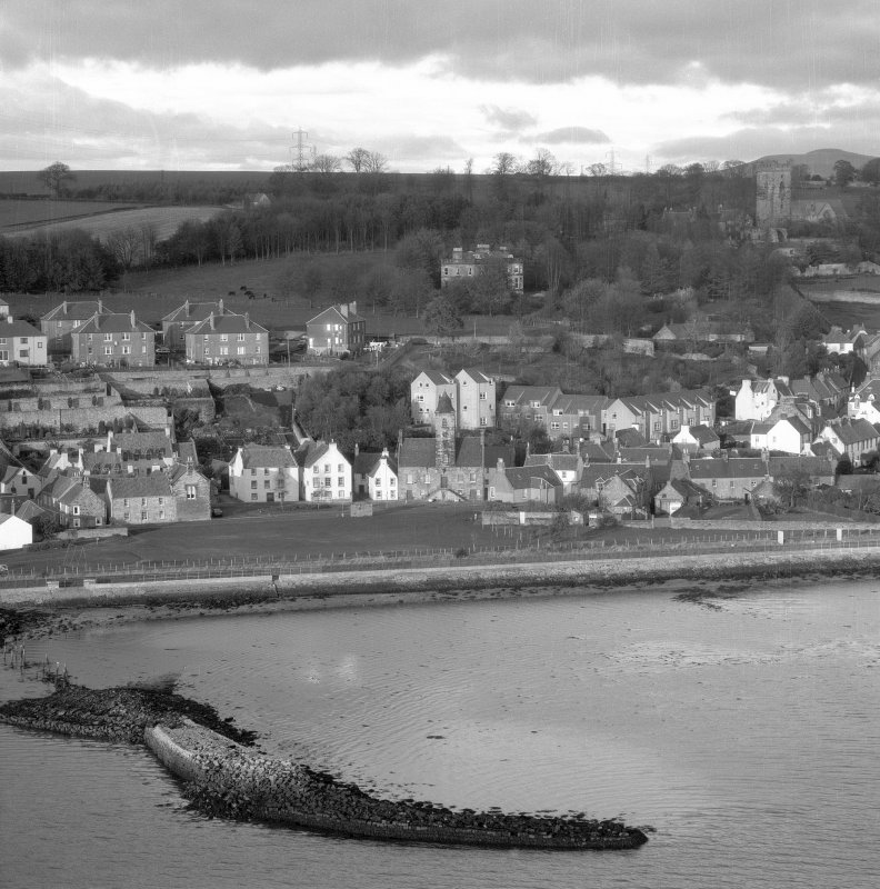 General view of Culross Burgh with remains of pier visible in the foreground. Digital image of B/49094.