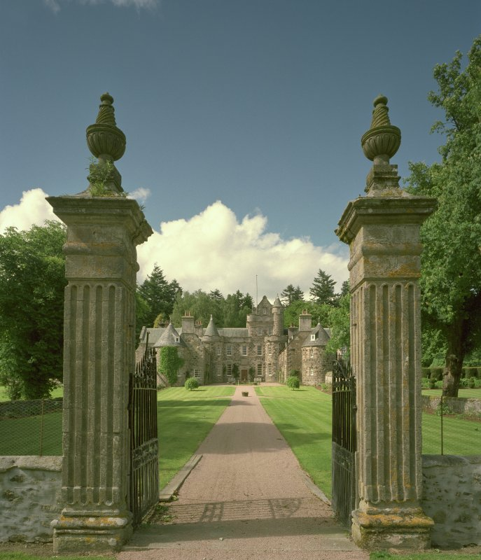 View from South, through ornamental gates of garden front. Digital image of E/7349/CN.
