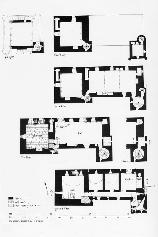 Carnassarie Castle. Photographic copy of plans of ground floor, first, second, third and parapet.