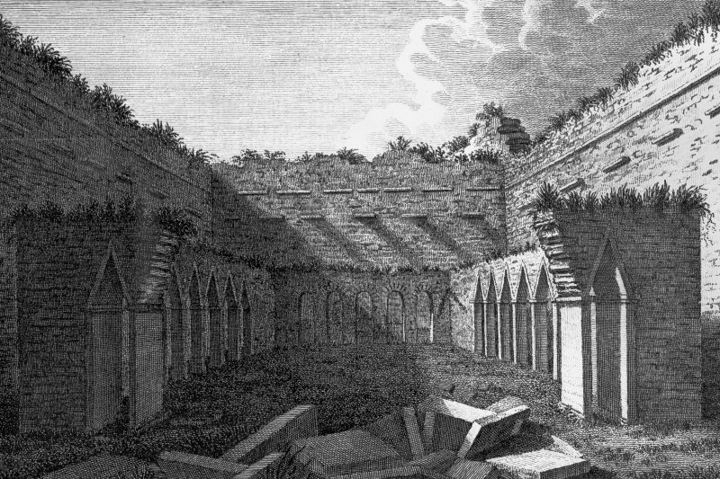 Oronsay Priory. Photographic copy of engraving of interior of cloister from North.
