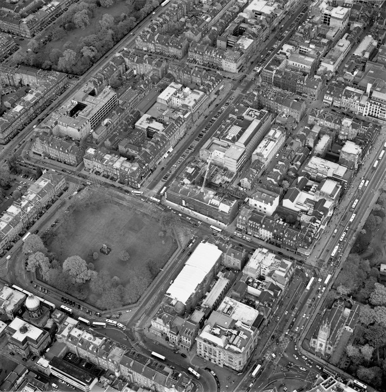 Oblique aerial view of Edinburgh centred on the renovation of the Roxburghe Hotel with the renovations to the south side of Charlotte Square adjacent, taken from the SW.