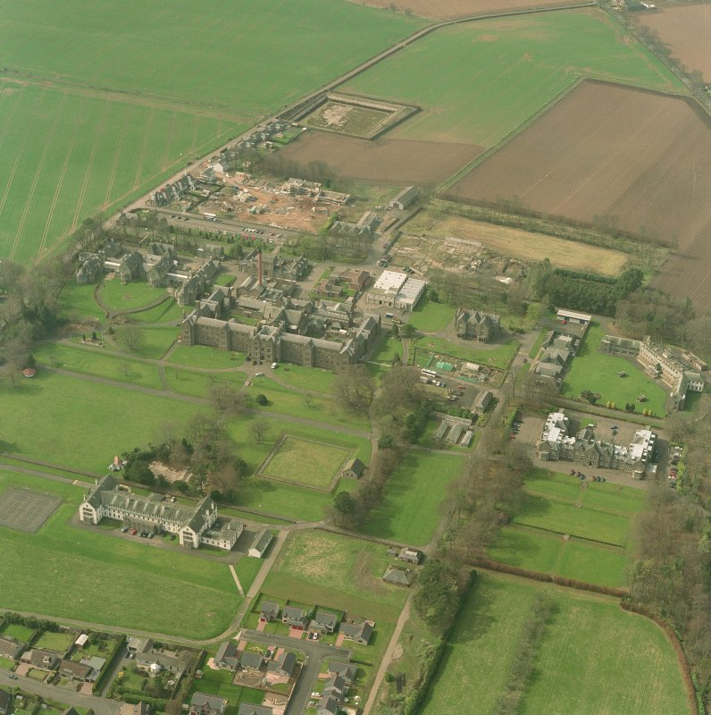 Oblique aerial view of the hospitals, taken from the SE.