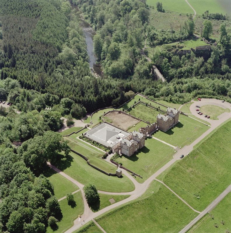 Oblique aerial view of Chatelherault and Cadzow Castle, taken from the NE.