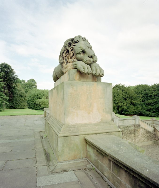 Lion sculpture at a mausoleum in Hamilton Low parks