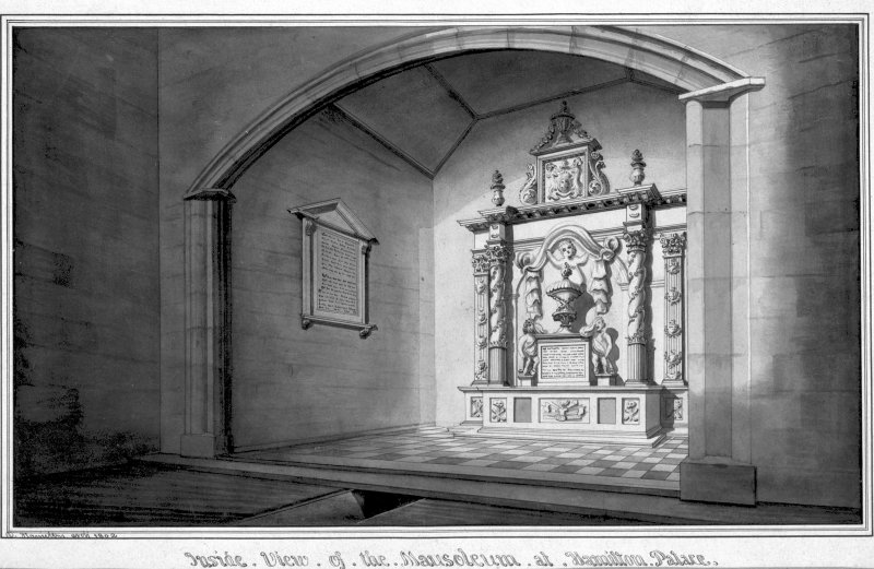 Photographic copy of drawing showing view of Hamilton Mausoleum. Digital image of LAD 44/2 P.