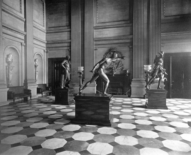 Interior. General view of hall with Classical statuary. Digital image of G 85139 PO.