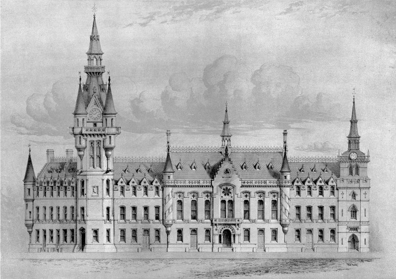 Aberdeen, Castle Street, Municipal Buildings. Digital image of scale drawing of South elevation of Municipal Buildings. Title: 'Elevation to Castle Street. No.2'. Insc: 'Aberdeen Public Libraries; Peddie & Kinnear Archts'.