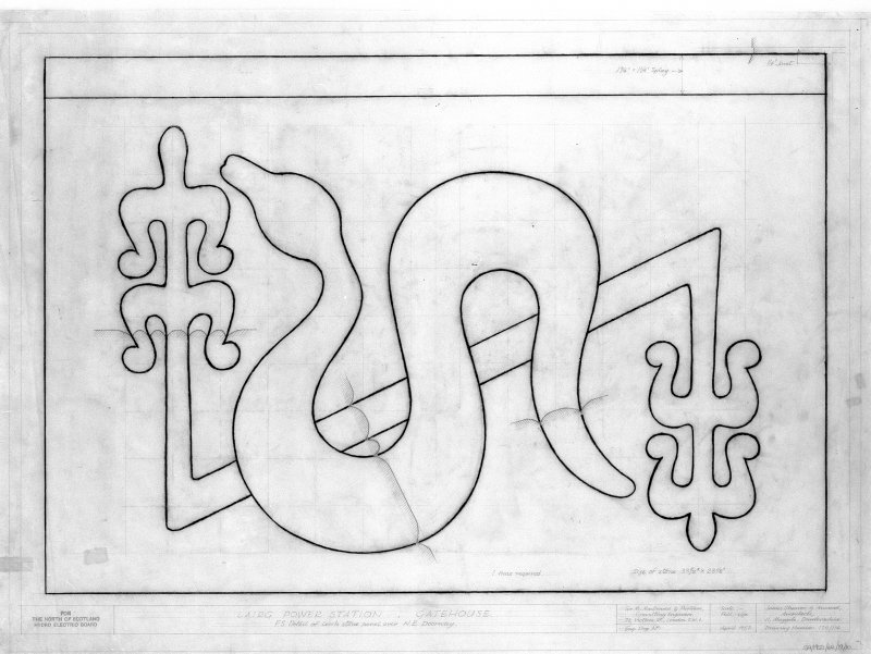 Detail of Pictish motif on carved decorative panel. Scanned image of E 21583.