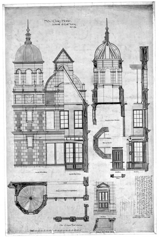 Plans, section and elevations including details of East wing. Scanned image of E 10999.