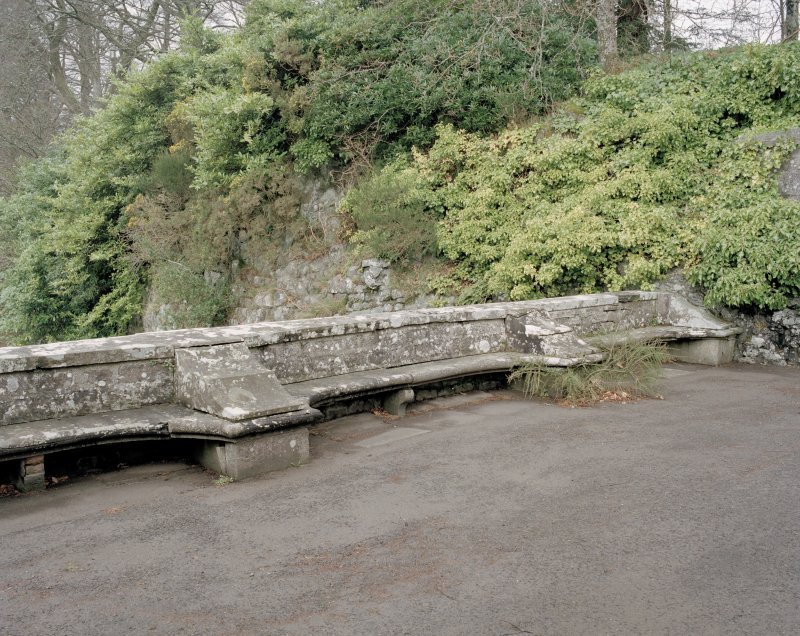 View of stone benches at West end of courtyard to keep. Digital image of D 47384 CN.