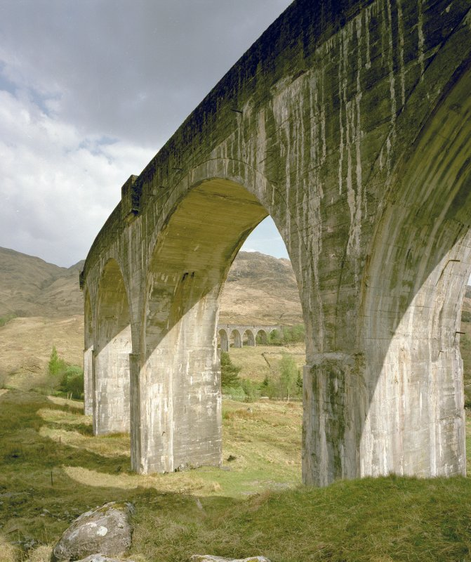 Glenfinnan Railway Viaduct over River Finnan View of viaduct from W, with E end of viaduct visible through arch in foreground