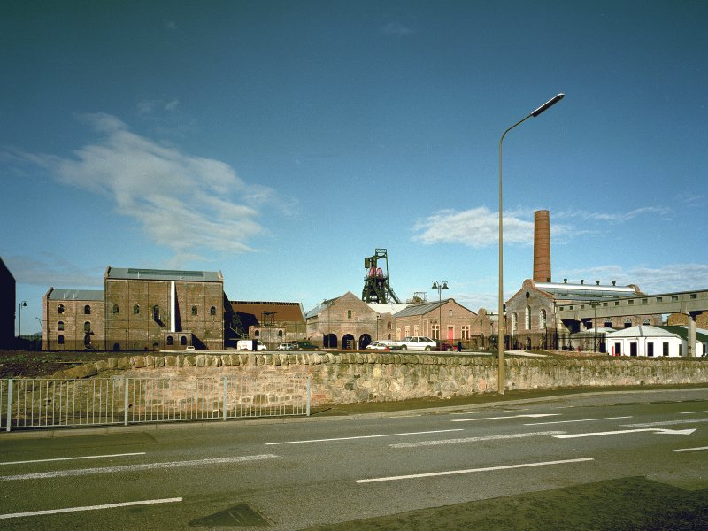 Newtongrange, Lady Victoria Colliery General view of colliery surface buildings from SE showing Phase 3 of the Scottish Mining Museum development nearing completion