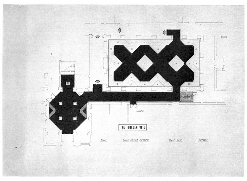 Edinburgh College of Art and ex-Scotland, London, Theatre Museum. Floor plan for the exhibition 'Parade: dance costumes of three centuries' (1979) which later toured as 'Spotlight: four centuries of ballet costume' (1981). Scanned image of E 26437.
