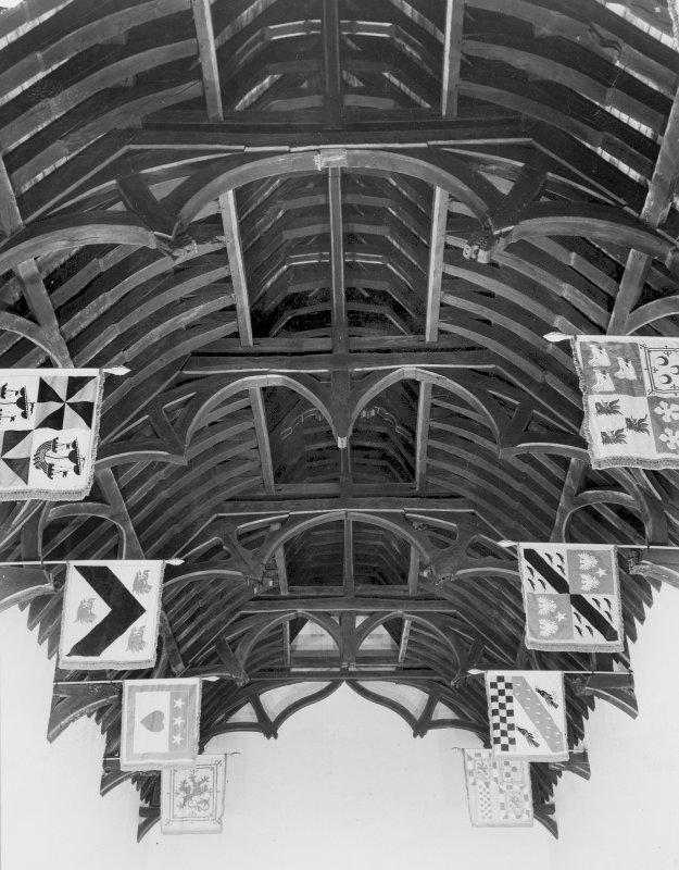 Detail of ceiling trusses in Randolph Hall.