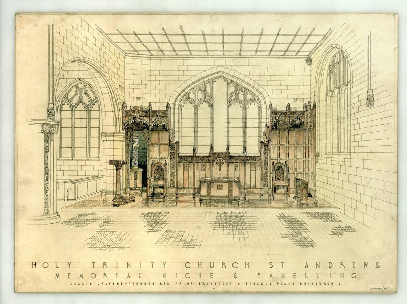 Interior perspective presentation drawing of the Parish Church Of The Holy Trinity showing memorial niche and panelling at chancel. Insc: 'Leslie Grahame - Thomson R.S.A. F.R.I.B.A. Architect 6 Ainslie Place Edinburgh 3.'