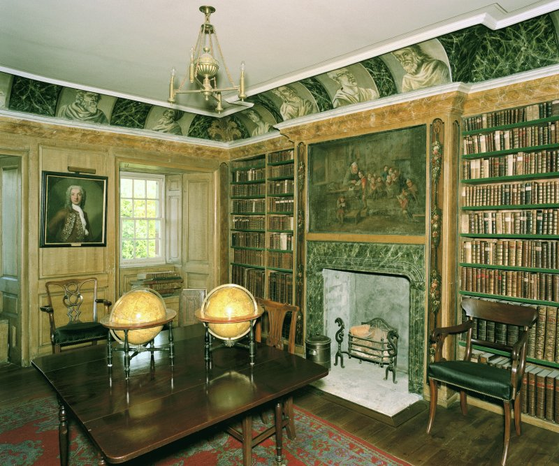 Traquair House, 3rd. floor, Library, view from West. Digital image of D 59957 CN.