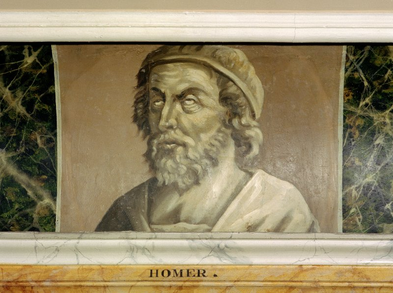 Traquair House, 3rd. floor, Library, detail of painted classical scholar (Homer). Digital image of D 59989 CN.